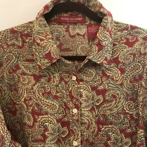 Red Paisley Button Down Shirt in 1X